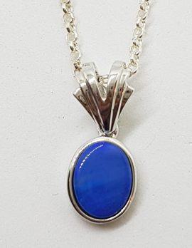 Sterling Silver Blue Opal Drop Pendant on Silver Chain