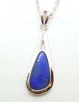 Sterling Silver Blue Opal Long Pendant on Silver Chain