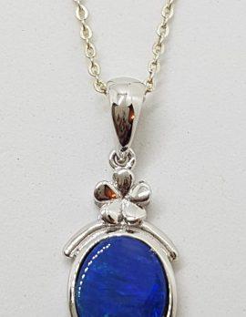 Sterling Silver Blue Opal Flower Pendant on Silver Chain