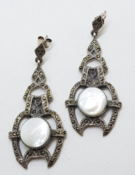 Sterling Silver Marcasite & Mother of Pearl Large Ornate Art Deco Style Drop Earrings