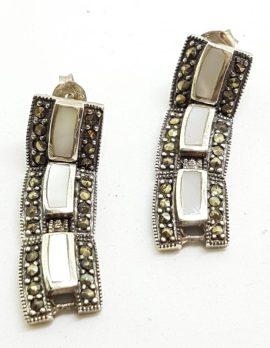 Sterling Silver Marcasite & Mother of Pearl Drop Stud Earrings