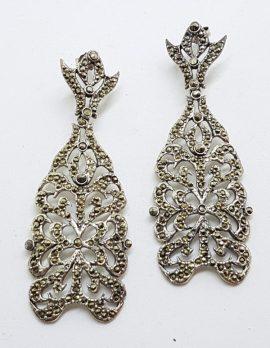 Stunning Sterling Silver Marcasite Very Large Ornate Drop Earrings