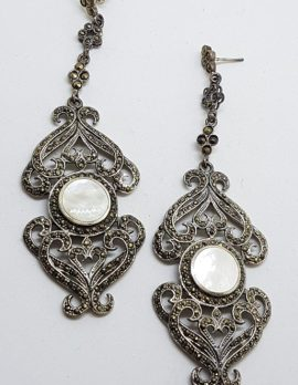 Sterling Silver Marcasite & Mother of Pearl Very Large & Long Ornate Drop Earrings