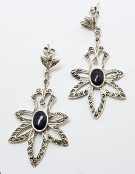 Sterling Silver Marcasite Large Ornate Onyx Drop Earrings