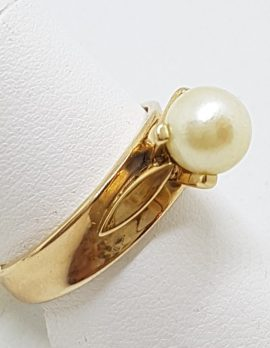 9ct Yellow Gold Pearl Wide Band Ring