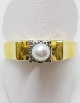 9ct Yellow Gold High Set Pearl Ring