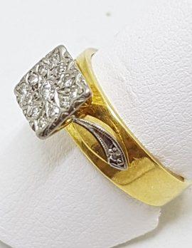 18ct Gold & Platinum Square Diamond Cluster Ring