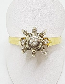 18ct Yellow Gold Diamond High Cluster Ring
