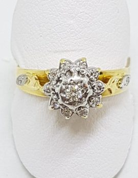 18ct Yellow Gold & Platinum Ornate High Set Diamond Flower/Daisy Cluster Ring