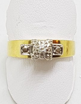 18ct Yellow Gold & Platinum Solitaire Diamond High Set Square Ring