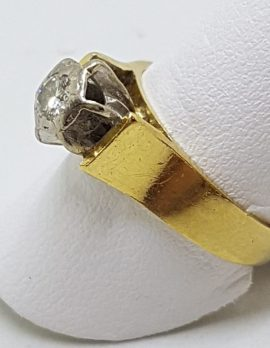 18ct Yellow Gold & Platinum Solitaire Diamond High Set Ring