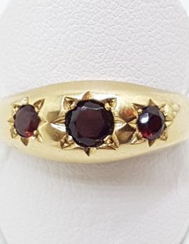 9ct Yellow Gold 3 Garnet Large Gypsy Band Ring