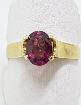 9ct Yellow Gold Oval Claw Set Garnet Ring