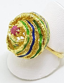 18ct Yellow Gold Natural Ruby & Enamel Large Round Ring