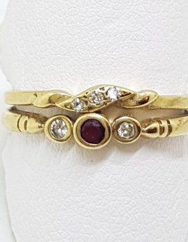 9ct Yellow Gold Natural Ruby & Diamond Ring