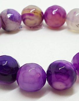 Purple Agate Elastic Bead Bracelet