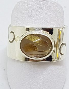 Sterling Silver Oval Rutilated Quartz in Wide Band Ring with Wave Design
