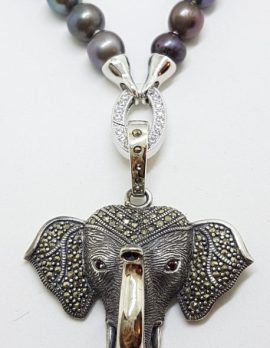 Sterling Silver Large Marcasite Elephant Enhancer Pendant on Pearl Necklace/Chain