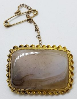 9ct Yellow Gold Large Rectangular Agate with Twist Rim Brooch - Antique / Vintage