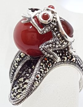 Sterling Silver Frog Ring - Carnelian and Marcasite