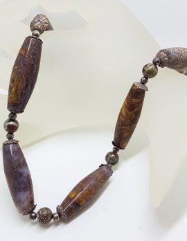 Sterling Silver Clasped Pietersite Bead Necklace / Chain