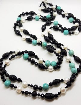 Very Long Multi Strand Onyx, Pearl and Turquoise Bead Necklace / Chain