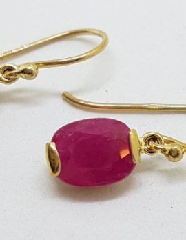 9ct Gold Natural Ruby Drop Earrings - Oval