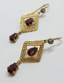 9ct Gold Garnet Ornate Long Drop Earrings