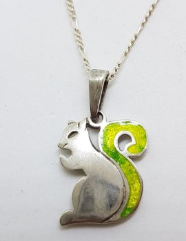 Sterling Silver & Enamel Squirrel Pendant on Silver Chain