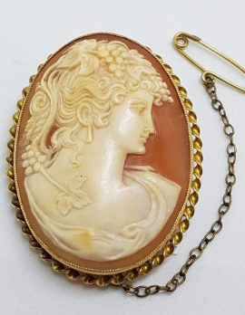 9ct Yellow Gold Oval Intricate Cameo Lady Head Brooch