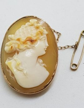9ct Yellow Gold Oval Cameo Lady Brooch