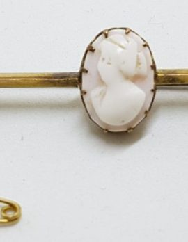 9ct Yellow Gold Oval Pink Cameo Lady Head Bar Brooch