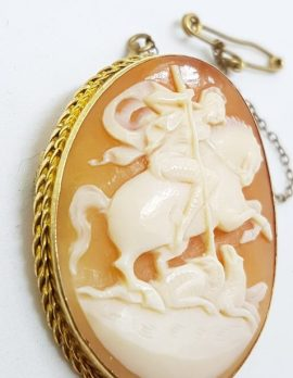 9ct Yellow Gold Oval St George Cameo Brooch
