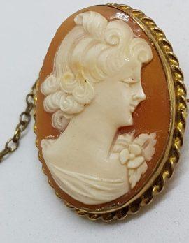 9ct Yellow Gold Twist Rim Oval Lady Cameo Brooch