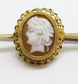 9ct Yellow Gold Oval Cameo Lady Head Bar Brooch
