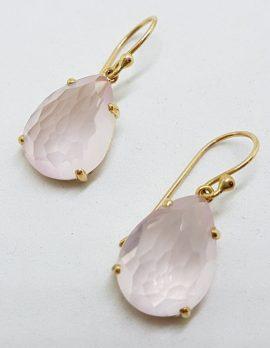 9ct Yellow Gold Faceted Rose Quartz Teardrop Shape Drop Earrings