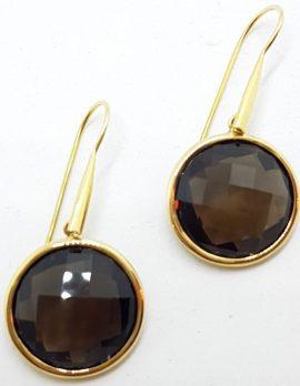 9ct Gold Round Smokey Quartz Long Drop Earrings