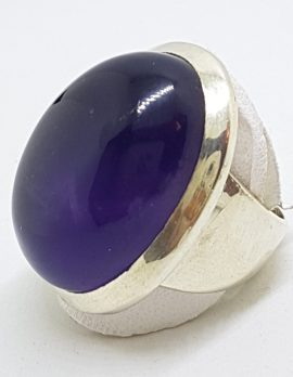 Sterling Silver Large Oval Cabochon Cut Amethyst Ring