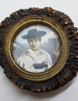 Deer Antler Belt Buckle with Lady Portrait