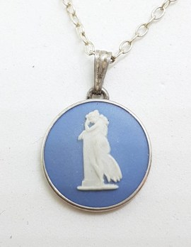 Sterling Silver Round Wedgwood Pendant on Silver Chain