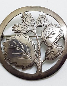 Sterling Silver Ornate Cut Out Flower / Thistle Large Round Brooch