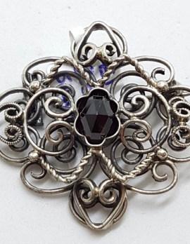 Sterling Silver Ornate Red Stone Filigree Brooch