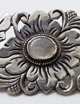 Sterling Silver Large Ornate Floral Design Moonstone Brooch