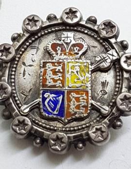 Sterling Silver & Enamel Crest / Shield Antique Round Brooch
