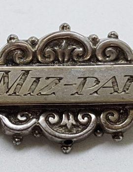 Sterling Silver Antique Ornate MIZPAH Bar Brooch