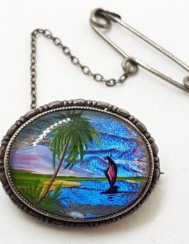 Sterling Silver Butterfly Wing Oval Brooch - Palm Tree Beach Scenery