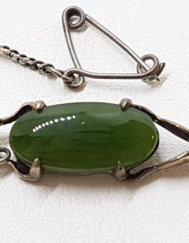Sterling Silver Oval Jade Bar Brooch