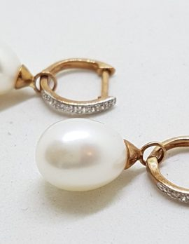 9ct Rose Gold Pearl and Diamond Huggie Hoop Drop Earrings - 2 in 1