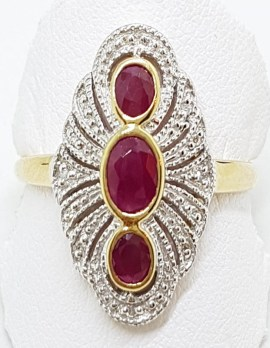 9ct Yellow Gold Natural Ruby & Diamond Ornate Long Shape Art Deco Style Cluster Ring