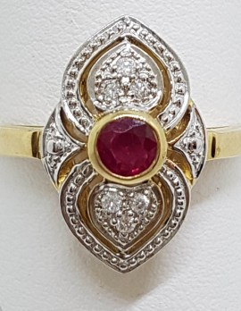 9ct Yellow Gold Natural Ruby & Diamond Ornate Art Deco Style Cluster Ring
